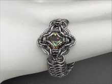 Celtic Labyrinth ring volcano crystal stainless steel