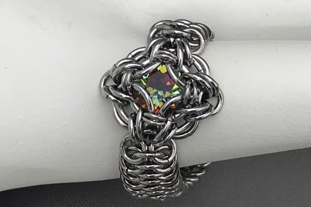 Stainless steel chainmaille ring Celtic labyrinth volcano