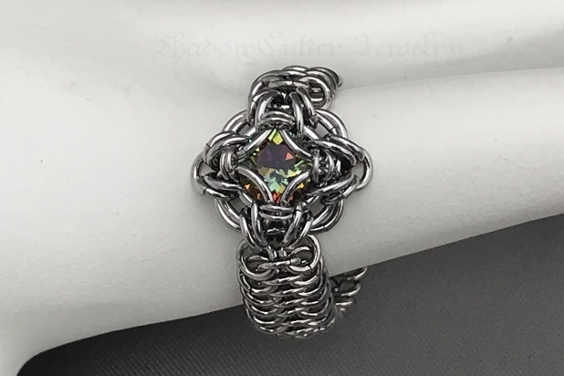 Bermuda Blue Celtic Labyrinth chainmaille ring Stainless Steel