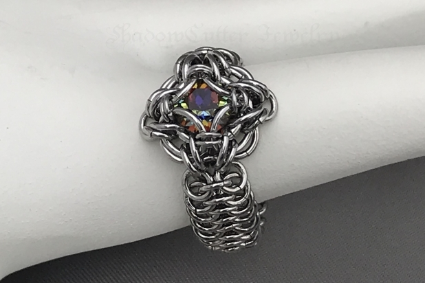 Stainless steel and Swarovski crystal Chainmaille ring Celtic Labyrinth