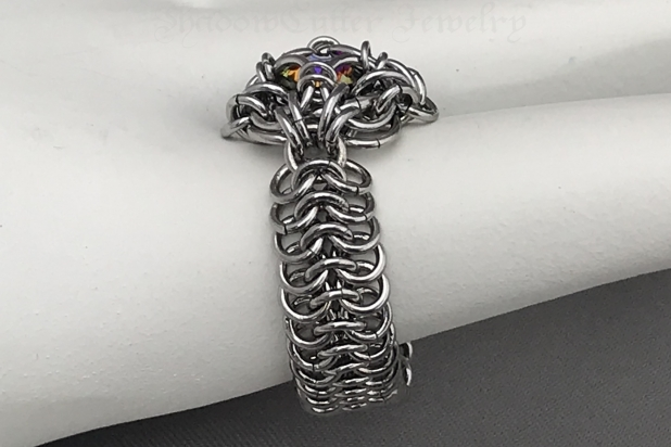 Stainless steel chainmaille ring band side view Celtic Labyrinth