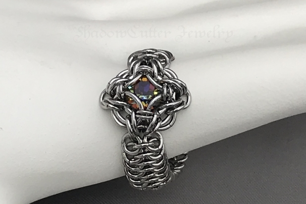 Stainless steel Chainmaille ring with Swarovski crystal, Celtic labyrinth
