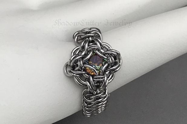 Bermuda Blue Celtic Labyrinth ring Stainless Steel