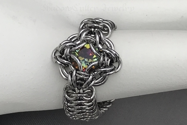 Chainmaille Celtic Labyrinth ring Stainless steel Bermuda blue