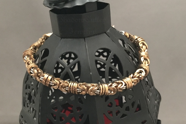 Chainmaille bracelet in square bronze