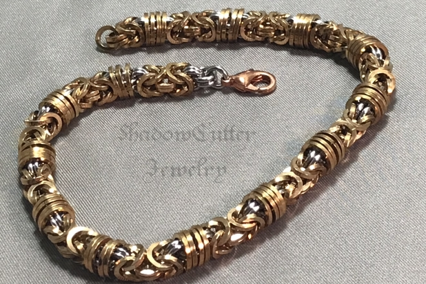 Orbital byzantine bracelet with copper lobster clasp