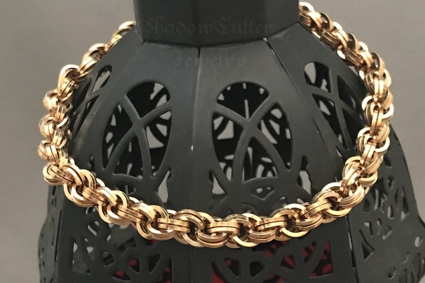 Square bronze spiral chainmaille bracelet