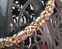 Square bronze orbital byzantine chainmaille bracelet